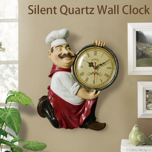 Resin Chef Cute Wall Clock Home Watch Bathroom Kitchen Clock vintage Wall Watches Home Decor Wall Clock Modern Design