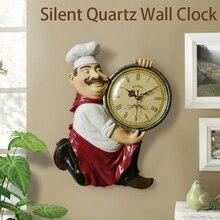 Żywica Chef śliczny zegar ścienny zegarek domowy łazienka zegar kuchenny klasyczna ściana zegarki Home Decor zegar ścienny nowoczesny Design