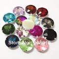 Сшить 27 мм 44 шт./лот Boashihua круглый плоский Топ кристалл причудливый Камень с серебряной установкой когтей