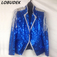 2016 Jacket Blazer Blue Sequins Singer Dancer Show Male DS Dance Costumes Outerwear Coat Nightclub Performance