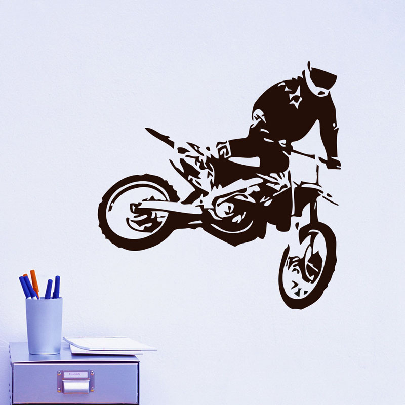 Motocross wall stickers jumps motorcycle home decor removable vinyl adhesive living room decoration children kid boys room decal in wall stickers from home