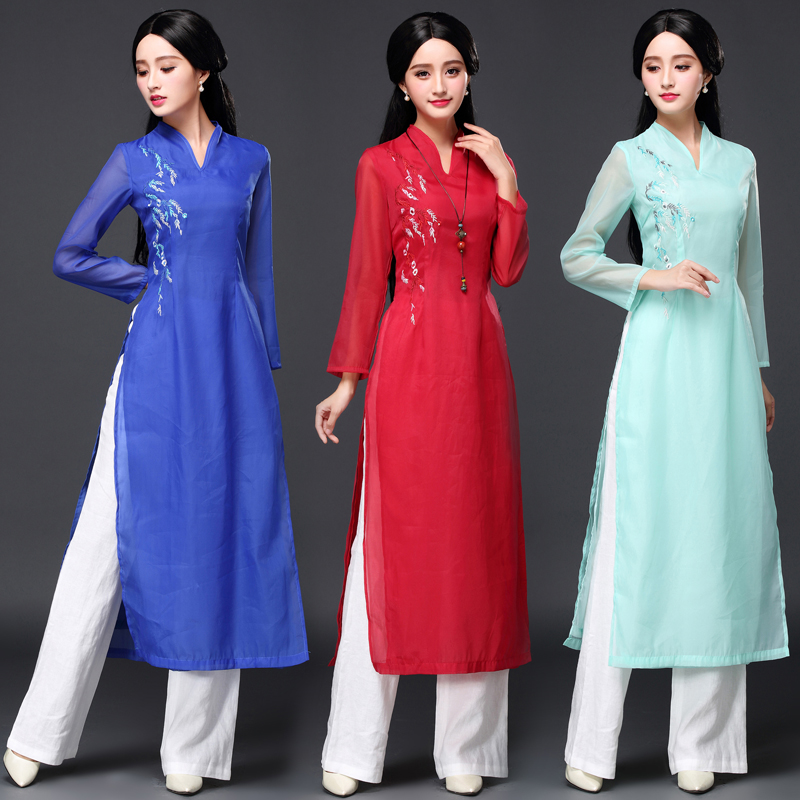 Ao Dai Chinese Traditional Dress Chinese Dress Qipao Long