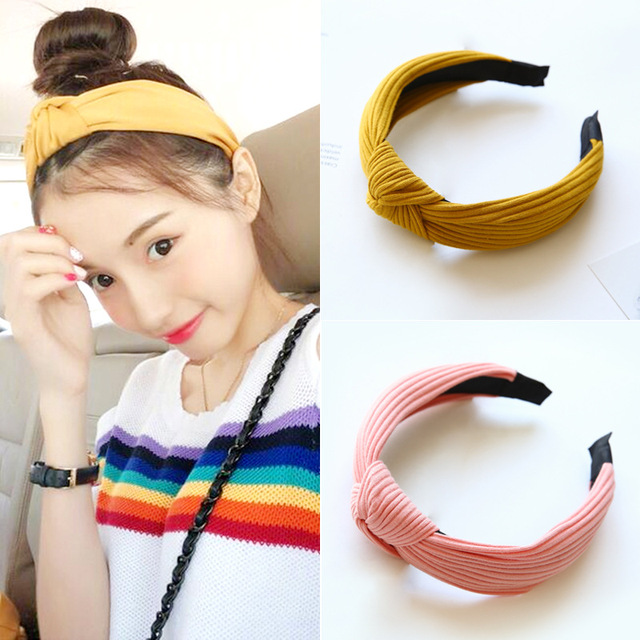 Small fresh and lovely lady fan fabric hairpin headband Pure colored and  hookah hair designer headband 8f61d56d3dd
