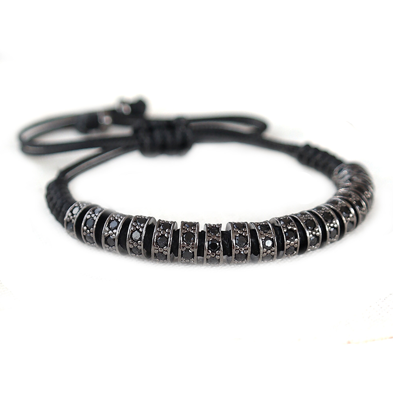 Aliexpress Com New Anil Arjandas Macrame Bracelets Rose Gold Micro Pave Black Cz Stoppers Beads Braiding Bracelet For Men Jewelry From
