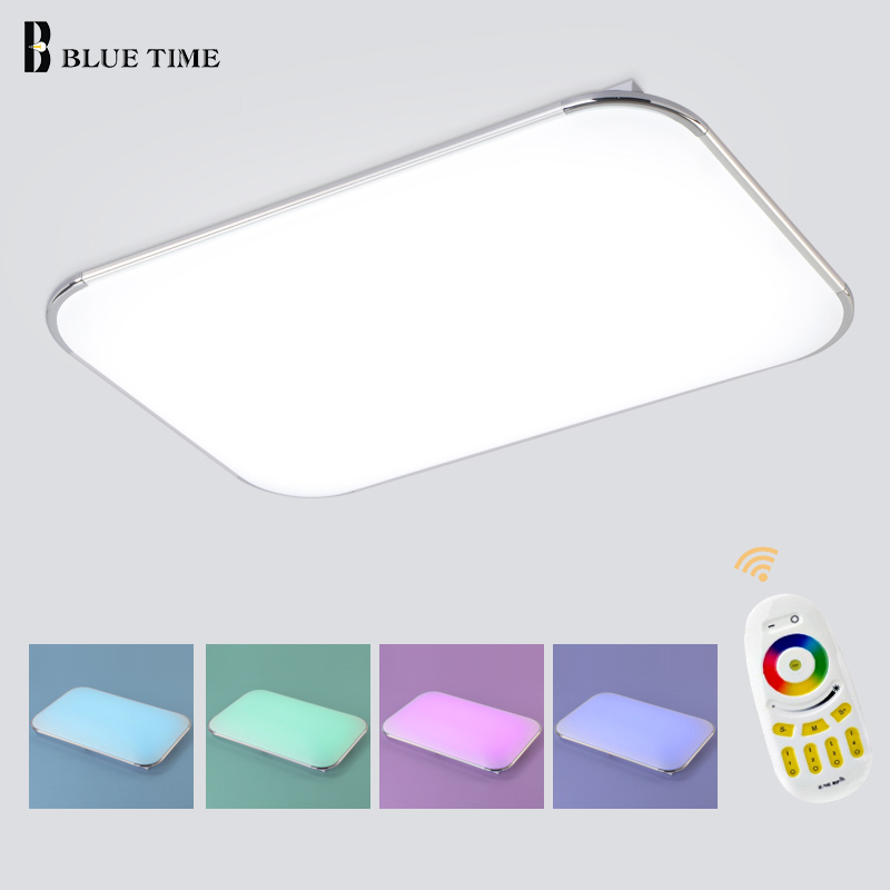 Acrylic Modern LED Ceiling Lights Multi color Remote Group Control Dimmable Color Changing Ceiling Lamp For Living room Bedroom noosion modern led ceiling lamp for bedroom room black and white color with crystal plafon techo iluminacion lustre de plafond