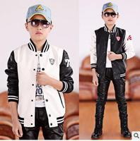 2017 Children Faux Leather Baseball Clothes Jacket For Baby Boys Sports Sweatshirt Coat PU Sleeve Kids Clothes New England Style