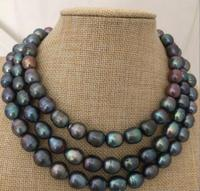 stunning 10 11mm tahitian black pearl necklace 45inch 925 silver