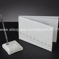 Free shipping Spring Blossom Wedding Guest Book And Pen Set With Lace QMC1040