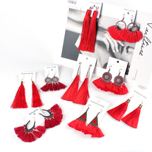 Fashion Handmade Long Tassel Earring Ethnic Triangle Big Circle Sector Drop Earrings Women Statement Jewelry Oorbellen
