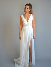 Sexy V-neck Robe De Mariage Brush Train Bridesmaid Dress Chiffon Cheap Side Split A Line Backless Bridesmaid Dresses