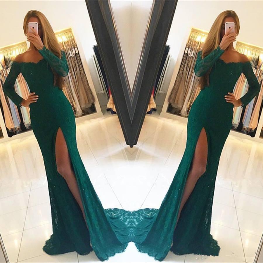 Saudi Arabian   Evening     Dresses   Long Sleeve abiye Vestido De Festa   Evening     Dress   robe longue femme soiree Hunter   Evening   Gown Lace