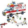 Brinquedos de montar blocos de construção 328 pcs série cidade tijolos caminhão ambulância 1118 diy 328 pcs do miúdo brinquedos de presente de natal # eb