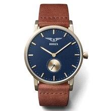HOOZA marca ultrafinos relojes de cuarzo hombres y mujeres simples de la manera neutral reloj grande del dial de cuero resistente al agua 3ATM relojes hombre