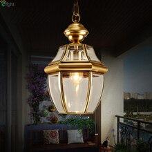 Европейский ретро блеск медная светодиодная подвесная люстра лампа стеклянный коридор светодиодные люстры освещение люминесцентные подвесные светильники приспособление