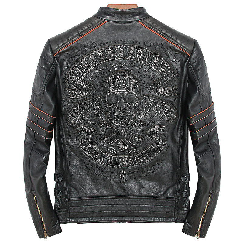 2018 Vintage Black Genuine Leather Mens Jacket Skull Embroidery Pattern Plus Size XXXL Genuine Cowhide Biker Coat FREE SHIPPING