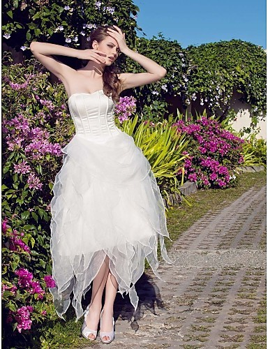 Listen ! Smelling... Yesterday Once M......A-line / Ball Gown Strapless Asymmetrical Organza Wedding Dress