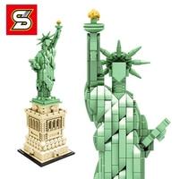 Sembo Technic Statue Of Liberty 17011 Legoing 21042 Creator City Nanoblock Architecture Building Blocks Bricks Toys Gifts lepin