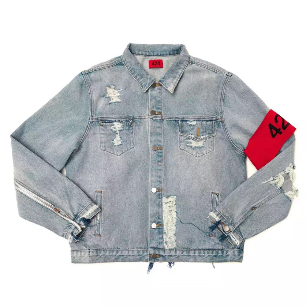2018 new Hip Hop justin bieber fog style 424 Armband oversize men Classic  Denim Jacket Wash Denim Vintage kanye Jeans Jackets-in Jackets from Men's  Clothing ...