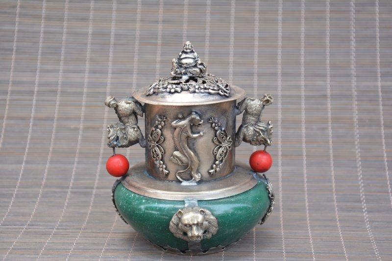 Antique Old QinDyansty silver&jade censer,Kirin & Dragon, bring good luck, get rid of evil,Free shippingAntique Old QinDyansty silver&jade censer,Kirin & Dragon, bring good luck, get rid of evil,Free shipping