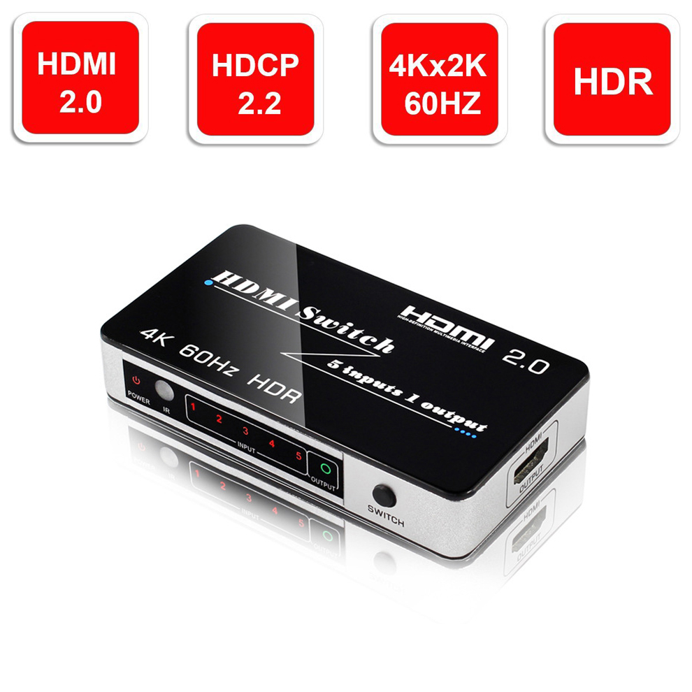 5 Port 18Gbps HDR 4K HDMI Switch 5x1 Support HDCP 2.2 Mini HDMI 2.0 Switcher HUB Box With Auto & IR Remote Control For Apple TV