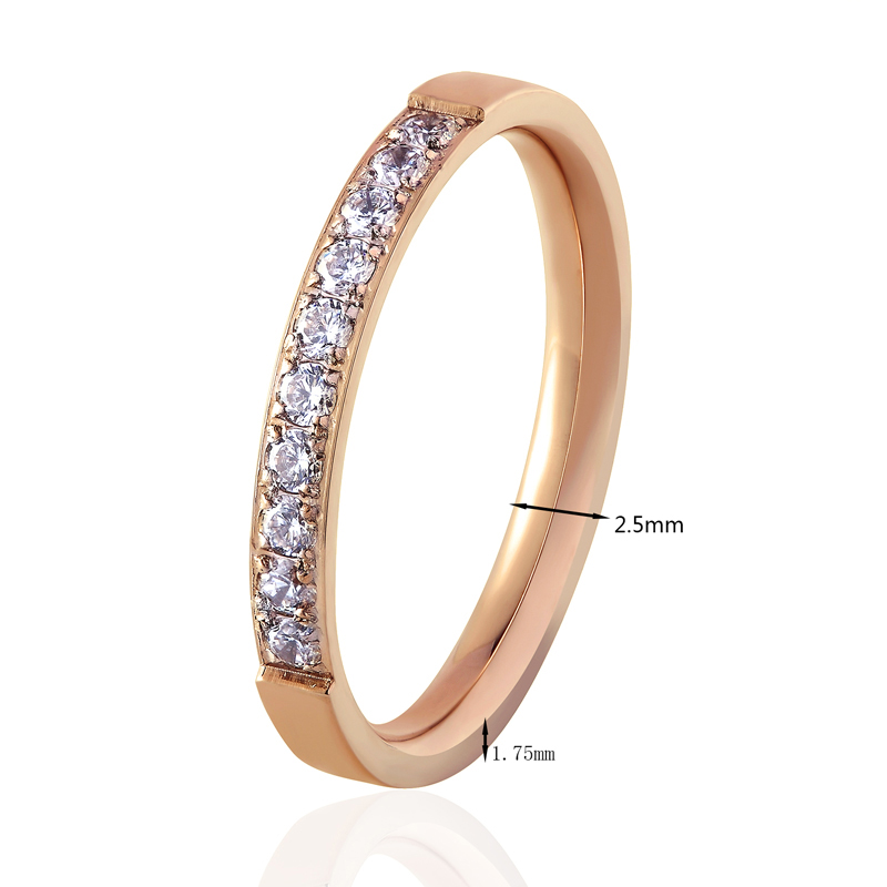 Top Quality Fashion Jewelry Crystal Wedding Rings Stainless Steel Rose Gold Color Female Ring For Woman And Girl Best Gift 6