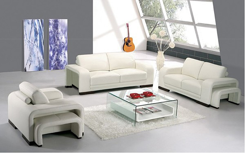 2016 White Color Sofa Sets Genuine Leather Sofa Sets