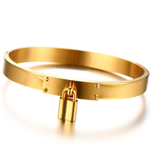Engrave Name Woman s Golden Hinge Bangle Padlock Charm Bracelet Stainless  Steel Brackelts Brazalet Stylish Womens Accessories d906616a256e