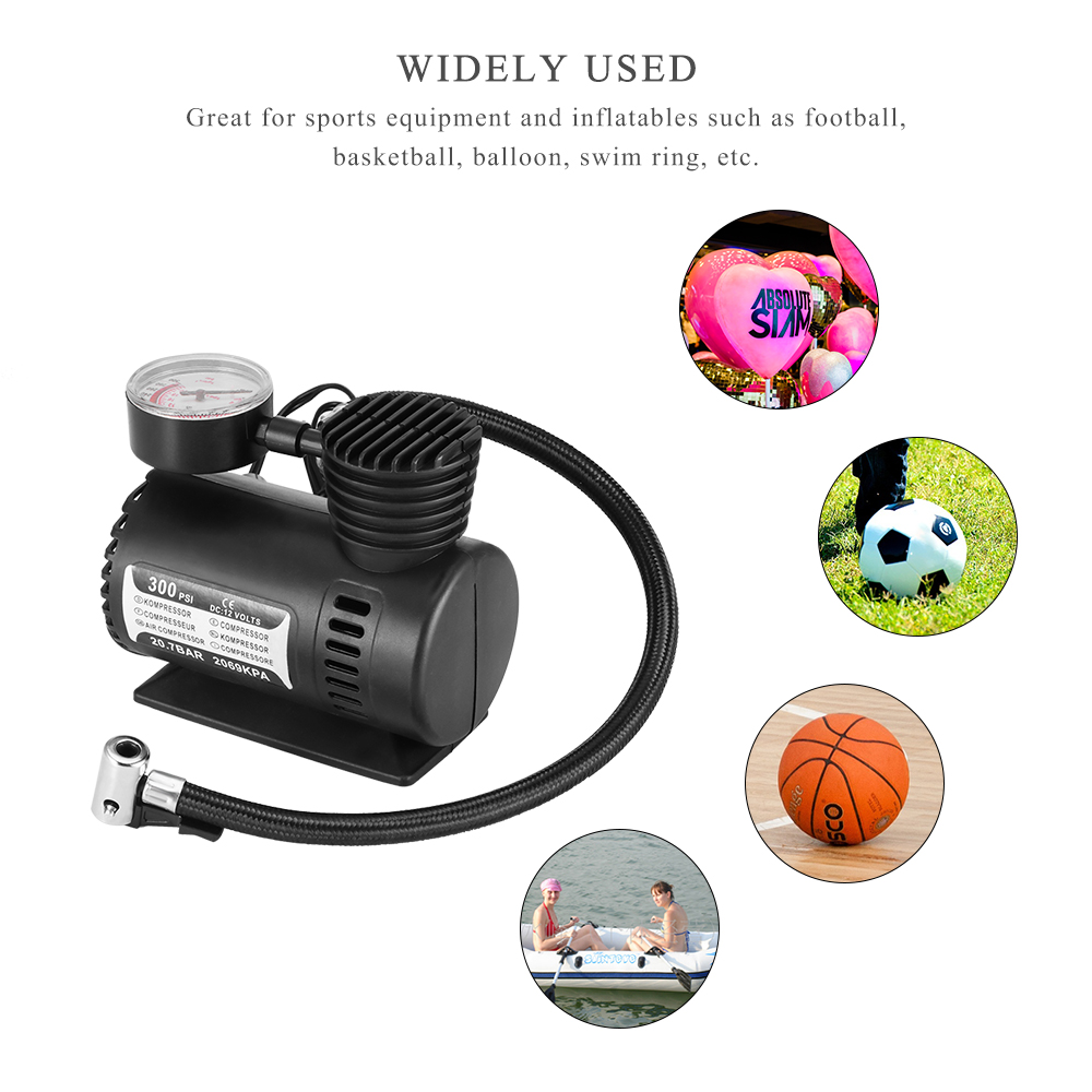TiOODRE DC 12V 300PSI Car Tire Inflator Auto Air Compressor Tire Pump With Pressure Gauge For Car Bicycle Ball Rubber Dinghy