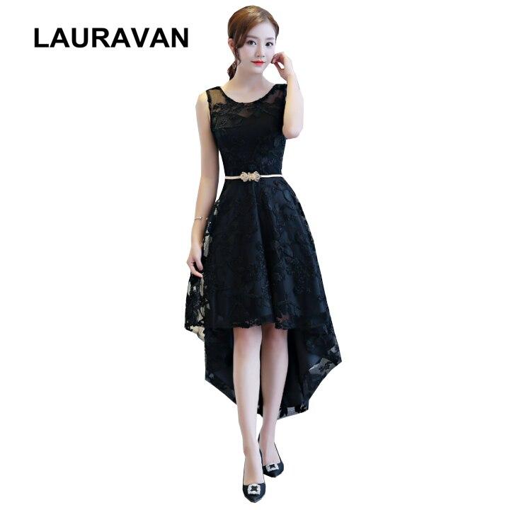 Robe courte noir belles filles été élégant hauts mode douce 16 haute basse robes de demoiselle d'honneur 2019 nouveauté pour les femmes