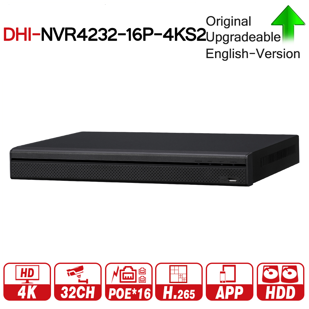 DH NVR4232-16P-4KS2 with logo original 4K 32CH NVR With 16CH POE Video Recorder 2 SATA Interface Support H.265 For IP Camera Kit 16ch poe nvr 16 32ch ip camera 4k technology support 12mp ipc p2p network video recorder ds 7716ni i4 16p ds 7732ni i4 16p
