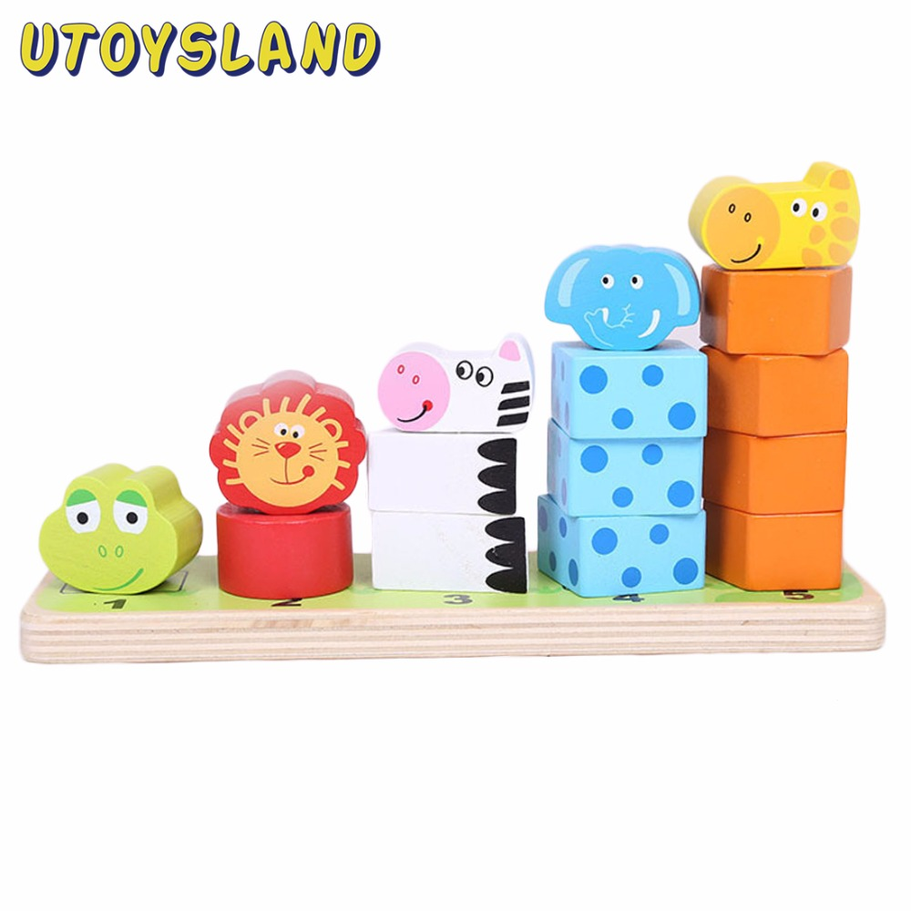 цены UTOYSLAND Cartoon Animal Blocks Stacker Wooden Counting Stacker Baby Kids Children Montessori Educational Toy Gift Drop Shipping