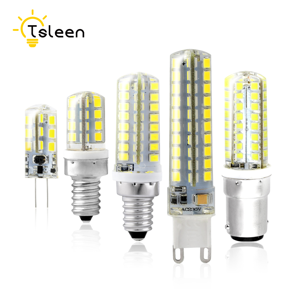 TSLEEN G4 G9 LED Lamp Corn Bulb E12 E14 B15 220V & DC 12V SMD2835 24 32 64 leds Lampada LED 360 degrees Crystal Chandelier Light