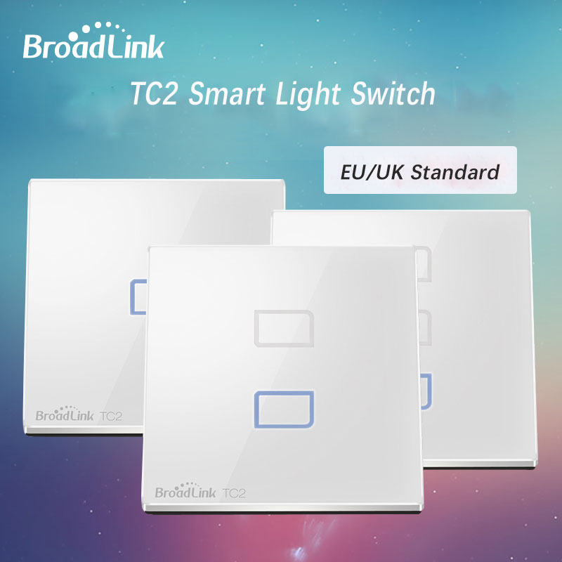 Broadlink TC2 EU Standard Wall Wifi Switch,1/2/3 Gang Touch Screen Wireless Remote Control Light Switches Smart Home Automation