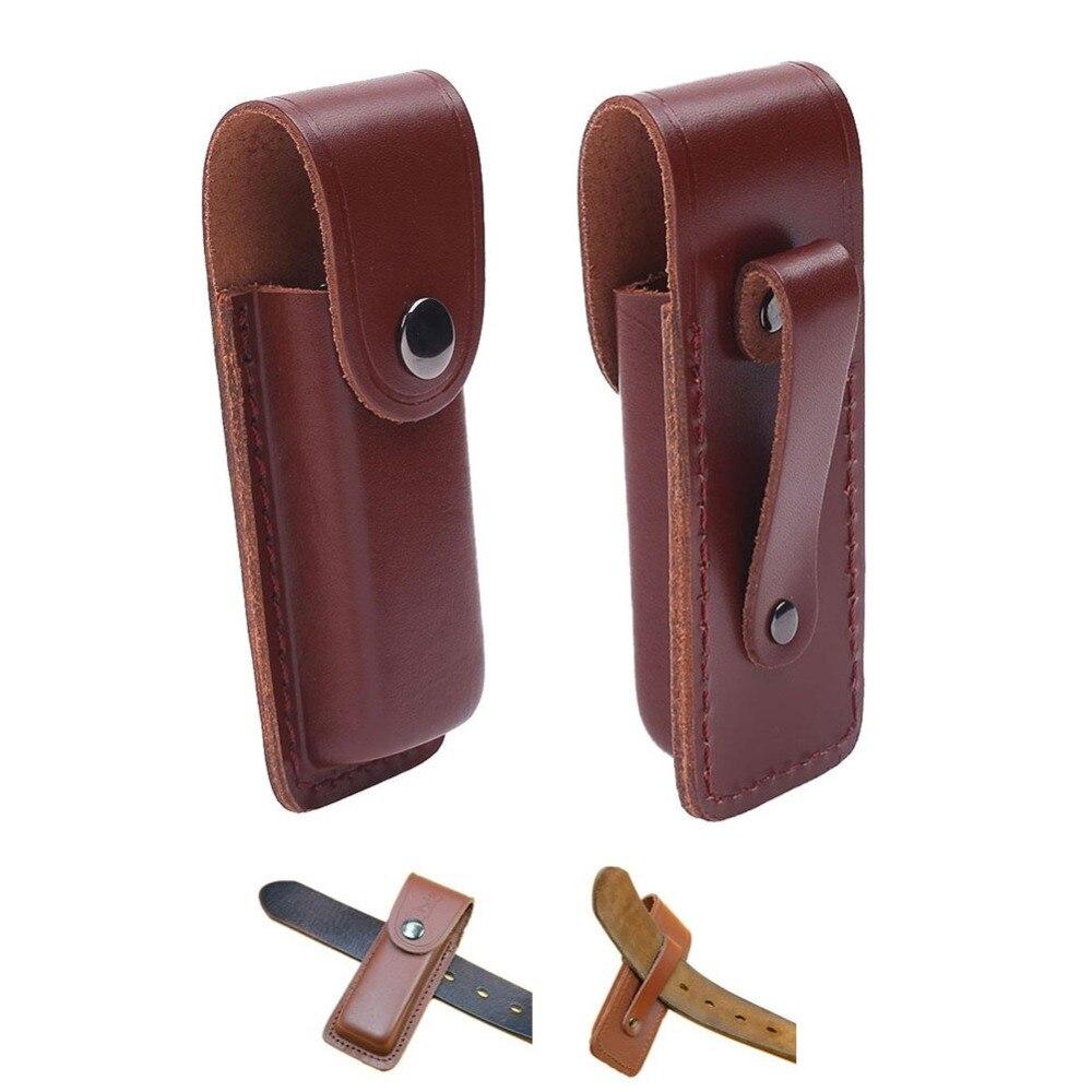 Leather Fold Knife Cover Flashlight Belt Loop Case Holder Sheath Holster Pouch Bag Pocket Hunt Camp Outdoor Carry EDC Multi Gear