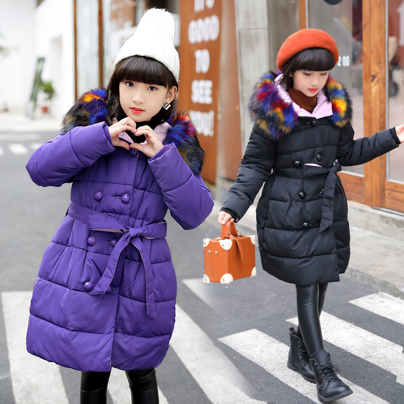 2018 Girls Parkas Wadded Jacket Winter Coat Fashion Big Multicolour Fur Collar Solid Thick Cotton Jacket 120-170 High Quality