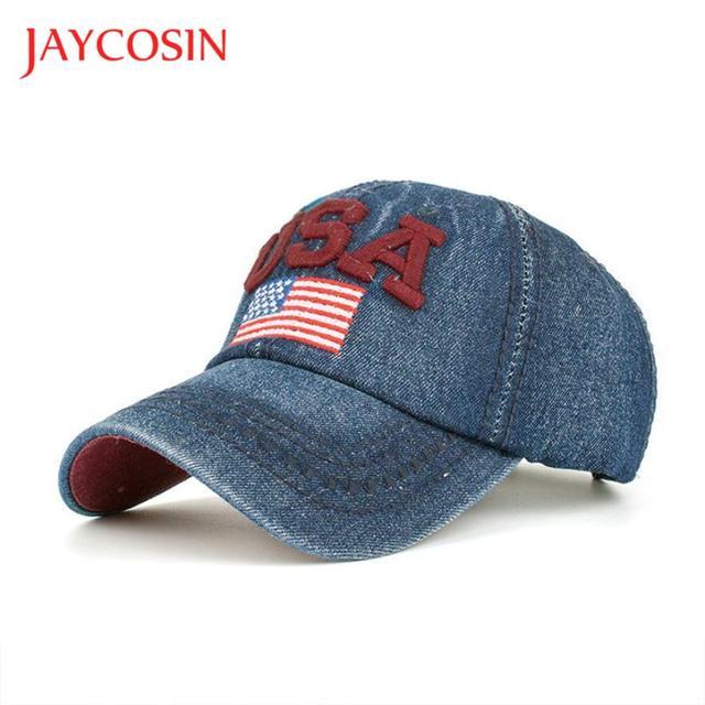 af9ef27e811 JAYCOSIN baseball cap Casual hat Women Men popular USA Denim Rhinestone  Baseball Cap Snapback Hip Hop Flat Hat gloves FEB7