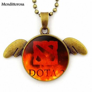 Dota 2 For Unisex Party Gift Brand Glass Cabochon Bronze Angel Wings Necklace Jewelry Gift 2