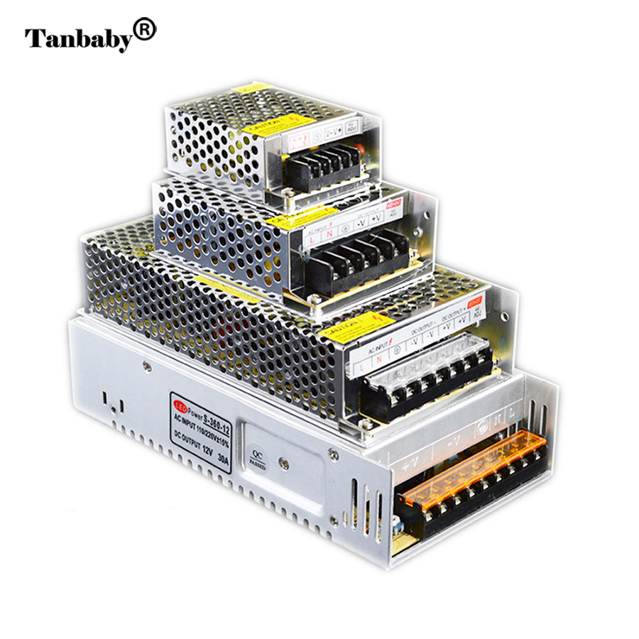 Tanbaby Led lighting transfomer AC100-240V to DC12V 5A 10A 20A 30A 40A 50A Switch LED Driver power supply for Strip CCTV Camera hlq25 75s 100s 125s 150s 10a 20a 30a 40a 50a 10b 20b 30b 40b 50b airtac sliding table cylinder