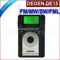 Degen de15 fm stereo mw sw fml lcd đài phát thanh thế giới nhạc receiver báo động quarz đồng h
