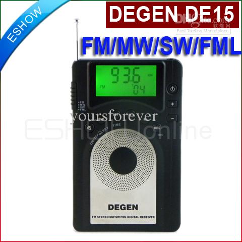 DEGEN DE15 FM Stereo MW SW FML LCD Radio World Band Receiver Alarm Quarz Clock tivdio portable fm radio dsp fm stereo mw sw lw portable radio full band world receiver clock