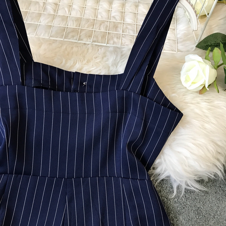 2019 Spring and Summer Korean New Stripe High Waist Open-back Jumpsuit Women Sleeveless Broad-legged Overalls G794 25