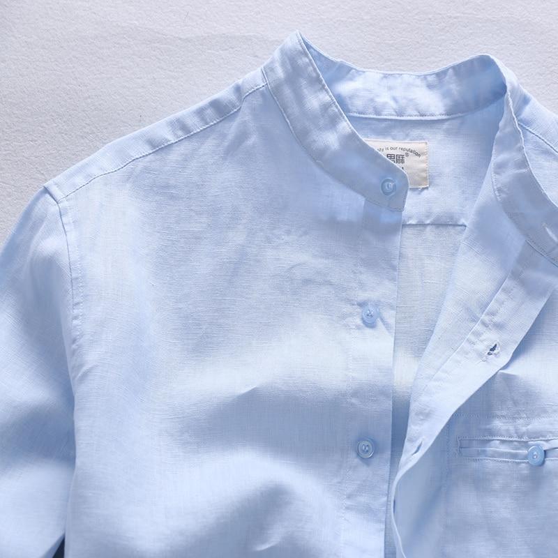 100% Lino Camisas azules de gama alta simples Hombres Lino de manga - Ropa de hombre - foto 3
