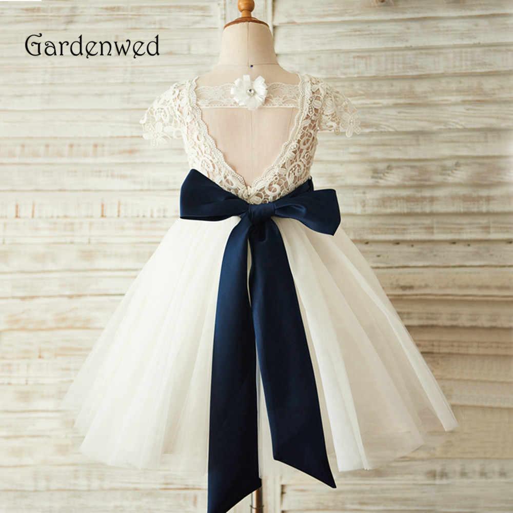 Gardenwed במלאי פרח ילדה שמלת בסדר תחרה למעלה כחול חגורת קו שנהב טול הקודש תינוק מסיבת שמלת ילדים נשף שמלת פתוח