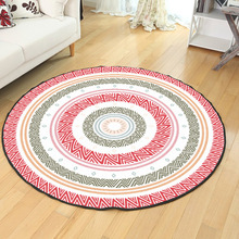 B40/60/80cm Round Carpets Bohemia Totem Print Carpet Anti-slip Rugs Computer Chair Mat Home Decor Floor for Living Room