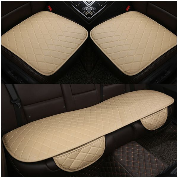 1 sets PU Leather Car Seat Cover Pad for Auto Seat Cushion Protection Pad Mat, Beige car seat cover truck suv auto universal leather cushion pad mat set for tata aria safari sumo indica nano indigo