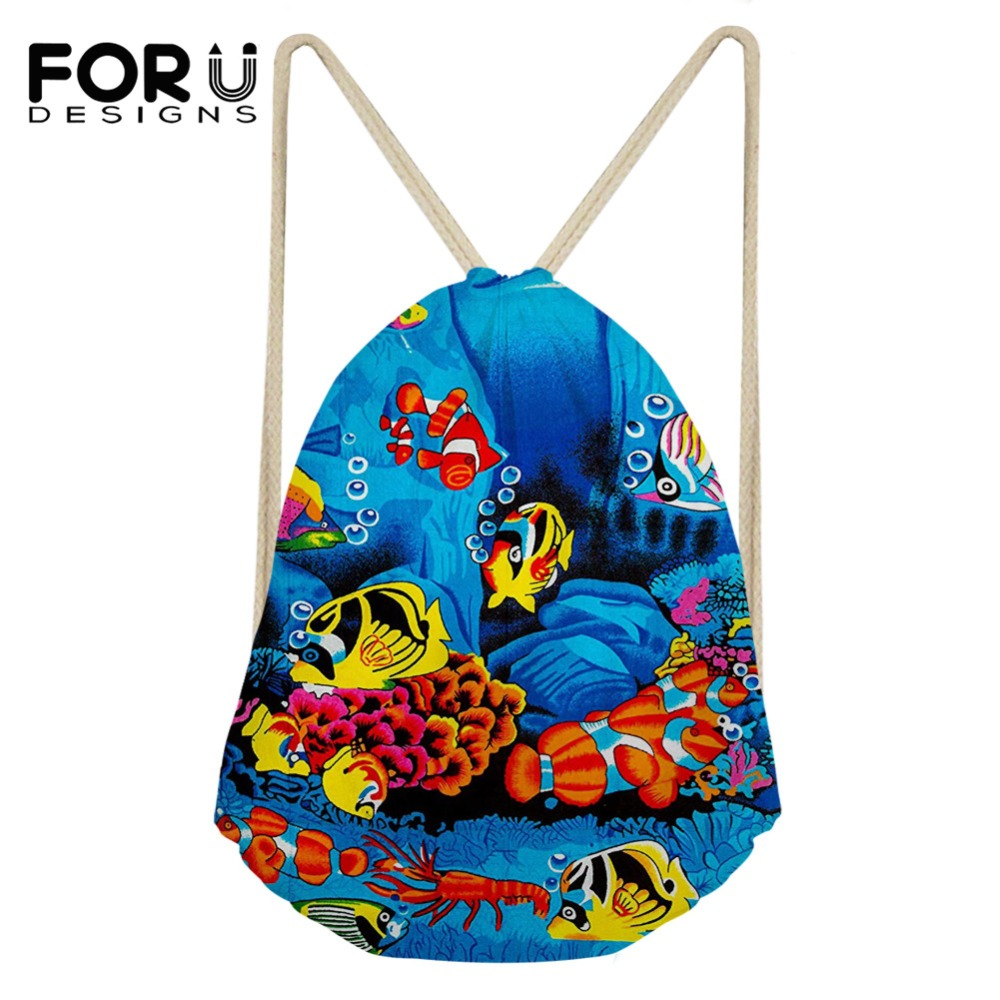 FORUDESIGNS Drawstring Bag Backpack For Women's 3D Underwater World Style Pattern Female Shopping Bags Package Boys Kids Bagpack