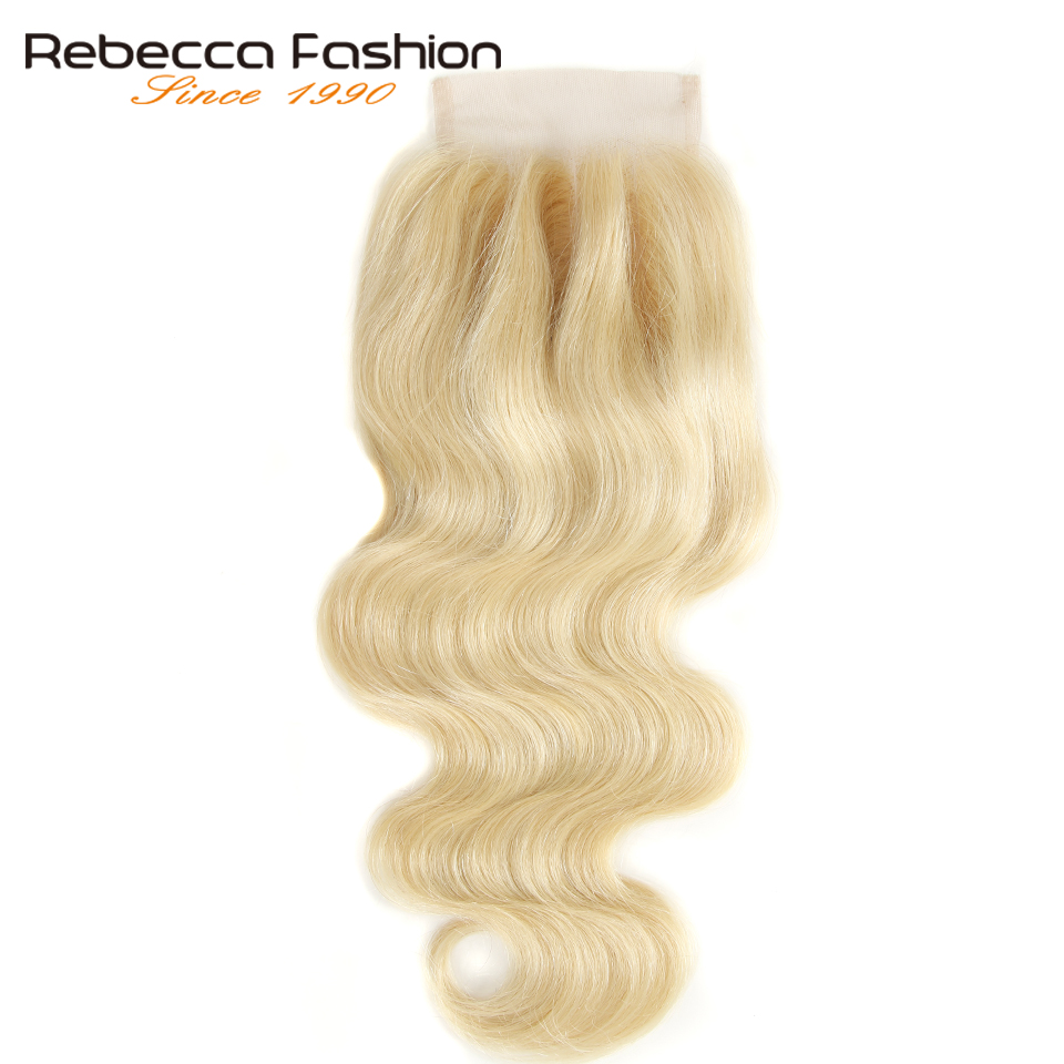 Rebecca 613 Body Wave Closure 4x4 Honey Blonde Brazilian Remy Human Hair Closures With Baby Hair Top Lace Closure 8-20