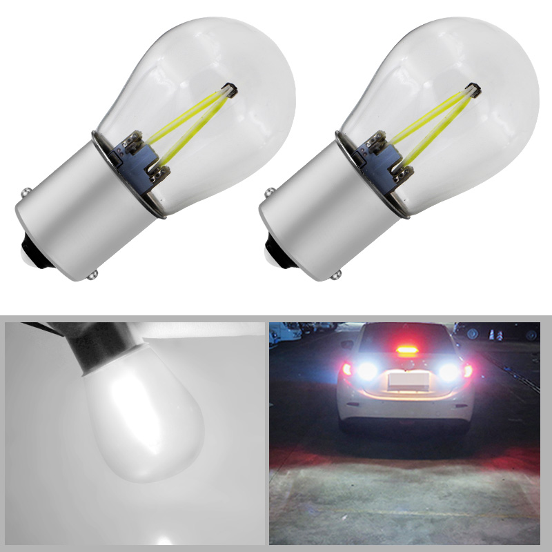 New 2x 1156 Led P21w LED 1157 Bulbs Ba15s Lamp Bay15d Light COB Car Lights DRL 12V 6000K White DRL Reverse Turn Signal 650LM 1piece no polarity 10 30v p21w 12w cob chips led 1156 382 ba15s canbus alta potencia drl luz reversa reino unido 720lm