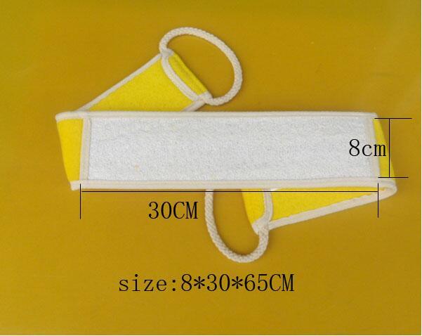 6a pack ofNatural Loofah Bath Rub Brush Exfoliate Pull Back Strip Rub Back Belt Chopping Band Bath Towel Free Shipping