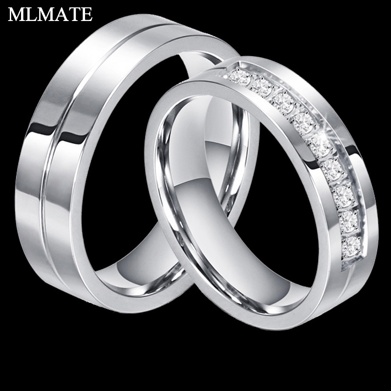 Matching Wedding Band Rings For Women & Men Love Silver Color 316l Stainless Steel Cz Ring Jewelry Anniversary Gift